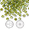 Bead, Swarovski crystal, olivine AB, 4mm faceted round (5000). Sold per pkg of 720 (5 gross).