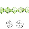 Bead, Swarovski crystal, peridot, 10mm Xilion bicone (5328). Sold per pkg of 48.
