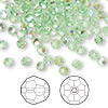 Bead, Swarovski crystal, peridot AB, 4mm faceted round (5000). Sold per pkg of 144 (1 gross).