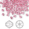 Bead, Swarovski crystal, rose, 4mm Xilion bicone (5328). Sold per pkg of 144 (1 gross).