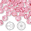 Bead, Swarovski crystal, rose, 8mm faceted round (5000). Sold per pkg of 144 (1 gross).