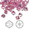 Bead, Swarovski crystal, rose AB, 6mm Xilion bicone (5328). Sold per pkg of 144 (1 gross).