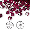 Bead, Swarovski crystal, ruby, 6mm Xilion bicone (5328). Sold per pkg of 144 (1 gross).