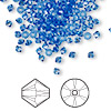 Bead, Swarovski crystal, sapphire, 3mm Xilion bicone (5328). Sold per pkg of 1,440 (10 gross).