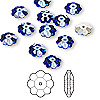 Bead, Swarovski crystal, sapphire, foil back, 8x3mm faceted marguerite lochrose flower (3700). Sold per pkg of 12.