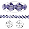 Bead, Swarovski crystal, tanzanite, 5mm Xilion bicone (5328). Sold per pkg of 24.