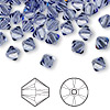 Bead, Swarovski crystal, tanzanite, 6mm Xilion bicone (5328). Sold per pkg of 144 (1 gross).