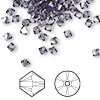Bead, Swarovski crystal, tanzanite satin, 4mm Xilion bicone (5328). Sold per pkg of 1,440 (10 gross).