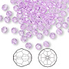 Bead, Swarovski crystal, violet, 4mm faceted round (5000). Sold per pkg of 144 (1 gross).