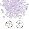 Bead, Swarovski crystal, violet AB, 3mm Xilion bicone (5328). Sold per pkg of 144 (1 gross).