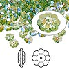 Bead, Swarovski crystal with third-party coating, Crystal Passions®, peridot glacier blue, 6x2mm faceted marguerite lochrose flower (3700). Sold per pkg of 144 (1 gross).