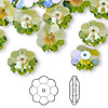 Bead, Swarovski crystal with third-party coating, peridot glacier blue, 12x4mm faceted marguerite lochrose flower (3700). Sold per pkg of 144 (1 gross).