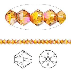 Bead, Swarovski® crystals, Crystal Passions®, crystal astral pink, 3mm Xilion bicone (5328). Sold per pkg of 144 (1 gross).