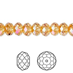 Bead, Swarovski® crystals, Crystal Passions®, crystal astral pink, 8x6mm faceted rondelle (5040). Sold per pkg of 12.