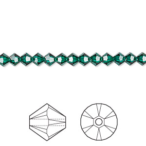 Bead, Swarovski® crystals, Crystal Passions®, emerald, 4mm Xilion bicone (5328). Sold per pkg of 48.