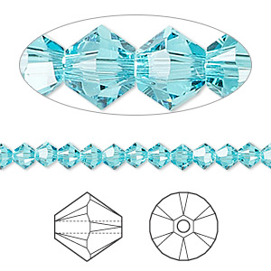 Bead, Swarovski® crystals, Crystal Passions®, light turquoise, 4mm Xilion bicone (5328). Sold per pkg of 48.