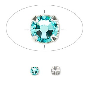 Bead, Swarovski® crystals and silver-plated pewter (tin-based alloy), Crystal Passions®, light turquoise, 3.8-4mm rose montées with 0.75-0.85mm hole (53102), SS16. Sold per pkg of 24.