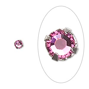 Bead, Swarovski® crystals and silver-plated pewter (tin-based alloy), rose, 3.8-4mm rose montées with 0.75-0.85mm hole (53102), SS16. Sold per pkg of 24.