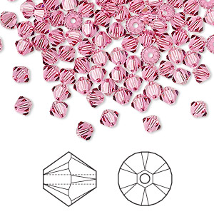 Bead, Swarovski® crystals, rose, 4mm Xilion bicone (5328). Sold per pkg of 144 (1 gross).