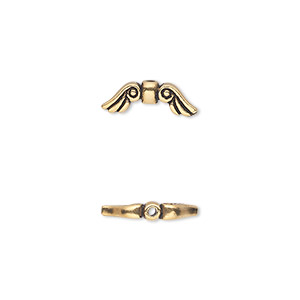 Bead, TierraCast®, antique gold-plated pewter (tin-based alloy), 14x5mm double-sided wings. Sold per pkg of 2.