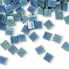 Bead, Tila®, glass, metallic matte iris blue, (TL2064), 5x5mm square with (2) 0.8mm holes. Sold per 40-gram pkg.
