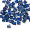 Bead, Tila®, glass, opaque Picasso cobalt, (TL4518), 5x5mm square with (2) 0.8mm holes. Sold per 10-gram pkg.