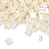 Bead, Tila®, glass, opaque ceylon antique ivory pearl, (TL592), 5x5mm square with (2) 0.8mm holes. Sold per 250-gram pkg.