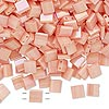 Bead, Tila®, glass, opaque luster rainbow light peach, (TL596), 5x5mm square with (2) 0.8mm holes. Sold per 10-gram pkg.