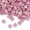 Bead, Tila®, glass, opaque luster rose, (TL599), 5x5mm square with (2) 0.8mm holes. Sold per 40-gram pkg.