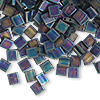 Bead, Tila®, glass, opaque matte black AB, (TL401FR), 5x5mm square with (2) 0.8mm holes. Sold per 10-gram pkg.