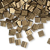 Bead, Tila®, glass, opaque matte metallic dark bronze, (TL2006), 5x5mm square with (2) 0.8mm holes. Sold per 10-gram pkg.