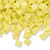 Bead, Tila®, glass, opaque matte rainbow yellow, (TL404FR), 5x5mm square with (2) 0.8mm holes. Sold per 40-gram pkg.