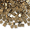 Bead, Tila®, glass, opaque metallic dark bronze, (TL457), 5x5mm square with (2) 0.8mm holes. Sold per 10-gram pkg.