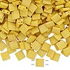Bead, Tila®, glass, opaque satin matte rich yellow, (TL2311), 5x5mm square with (2) 0.8mm holes. Sold per 10-gram pkg.