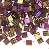 Bead, Tila®, glass, transparent luster rainbow dark topaz gold, (TL301), 5x5mm square with (2) 0.8mm holes. Sold per 10-gram pkg.