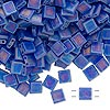 Bead, Tila®, glass, transparent matte rainbow blueberry, (TL151FR), 5x5mm square with (2) 0.8mm holes. Sold per 40-gram pkg.