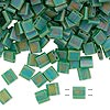 Bead, Tila®, glass, transparent matte rainbow pistachio, (TL146FR), 5x5mm square with (2) 0.8mm holes. Sold per 10-gram pkg.