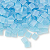 Bead, Tila®, glass, transparent matte rainbow powder blue, (TL148FR), 5x5mm square with (2) 0.8mm holes. Sold per 10-gram pkg.