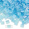 Bead, Tila®, glass, transparent rainbow light blue, (TL260), 5x5mm square with (2) 0.8mm holes. Sold per 40-gram pkg.