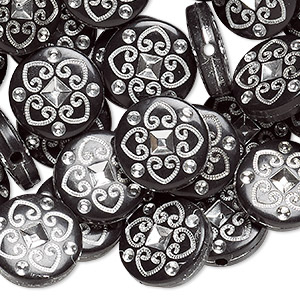 Bead, acrylic, black and silver, 18mm double-sided flat round with spade design, 2mm hole. Sold per pkg of 50.