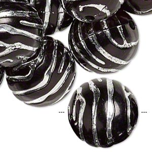 Bead, acrylic, black and silver, 18mm round with line design, 2.5mm hole. Sold per pkg of 24.