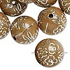 Bead, acrylic, brown and silver, 18mm round with flower design, 2.5mm hole. Sold per pkg of 24.