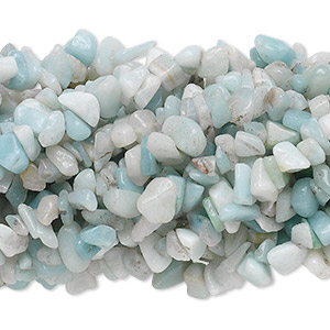 Bead, amazonite (natural), medium chip with 0.5-1.5mm hole, Mohs hardness of 6 to 6-1/2. Sold per pkg of (10) 34-inch strands.