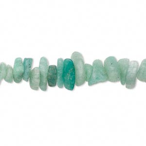 Bead, amazonite (natural), small to extra-large chip, Mohs hardness of 6 to 6-1/2. Sold per 16-inch strand.