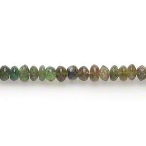 Bead, amber-green tourmaline (natural), shaded, 4x2mm-5x4mm hand-cut rondelle, C grade, Mohs hardness 7 to 7-1/2. Sold per 15-inch strand.