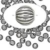 Bead, antiqued sterling silver, 5mm seamless corrugated round. Sold per pkg of 10.