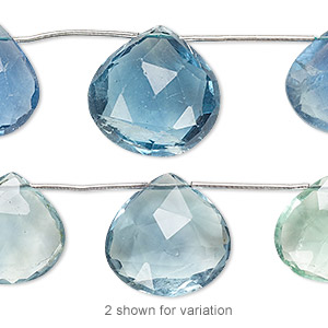 Bead, blue-green fluorite (natural), 12x12mm-18x18mm graduated hand-cut top-drilled faceted puffed teardrop, B grade, Mohs hardness 4. Sold per pkg of 5 beads.