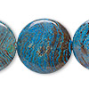 Bead, blue sky jasper (dyed / stabilized), 30mm flat round, C grade, Mohs hardness 6-1/2 to 7. Sold per pkg of 2.