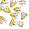 Bead cap, Blue Moon Beads®, gold-finished steel, 15x10mm 7-prong bell, fits 10-13mm bead. Sold per pkg of 18.