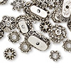 "Bead cap mix, antiqued silver-finished ""pewter"" (zinc-based alloy), 6x2mm-18x6mm mixed shapes. Sold per pkg of 50."